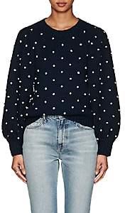 Ulla Johnson Women's Adelen Polka Dot Cotton Sweater-Navy