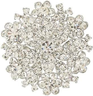 clear Ever Faith Wedding Silver-Tone Flower Brooch Austrian Crystal Bridesmaid Gift A02401-1