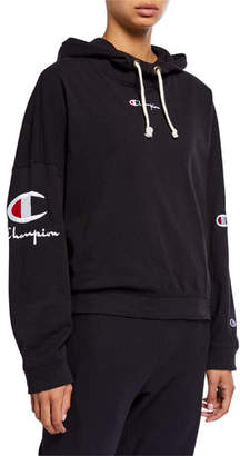 Champion Europe Reverse Weave Hooded Logo Pullover Sweatshirt