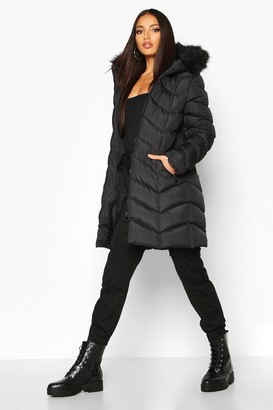 boohoo Faux Fur Hooded Panelled Parka