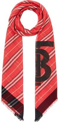 Burberry Monogram Icon Stripe Wool Silk Large Square Scarf