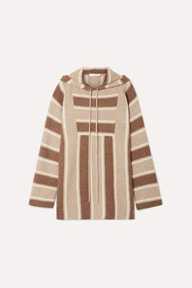The Row Lina Oversized Striped Cashmere And Silk-blend Hoodie - Brown