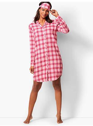 Talbots Flannel Sleep Shirt - Glen-Plaid