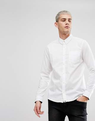 Pretty Green Phoenix Stretch Fit Long Sleeve Shirt In White