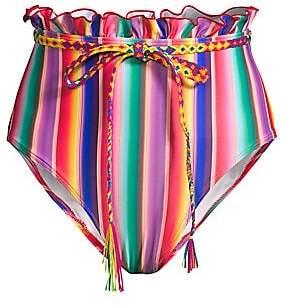 All Things Mochi Women's Louise Rainbow Stripe Belted Bikini Bottom