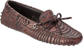 Tod's Gommino Zebra Metallic Suede Driving Shoe