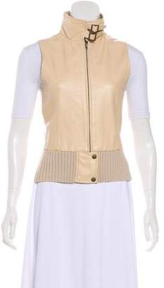 BCBGMAXAZRIA Leather-Paneled Wool-Blend Vest