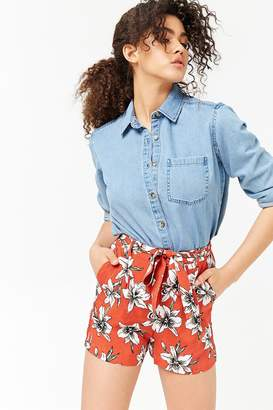 Forever 21 Tie-Waist Floral Print Shorts