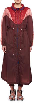 Isabel Marant Rumbery Colorblock Nylon Parachute Trench Coat