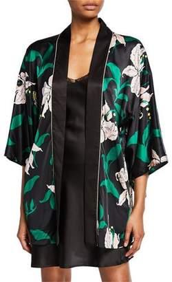 Morgan Lane Nia Floral-Print Silk Robe
