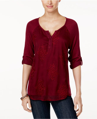 Style & Co Embroidered Split-Neck Top, Created for Macy's $44.50 thestylecure.com