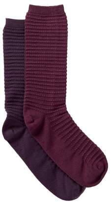 Yummie Tummie Bubble Stitch Crew Socks - Pack of 2