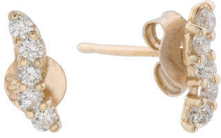 Made In Spain 14k Gold Diamond Ear Crawler Curved Earrings