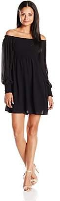Soprano Juniors Women's Long Sleeve Smocked Off The Shouler Dress