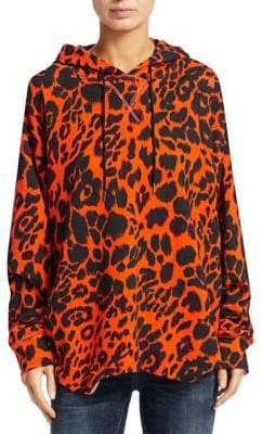 R 13 Leopard-Print Shirttail Hoodie