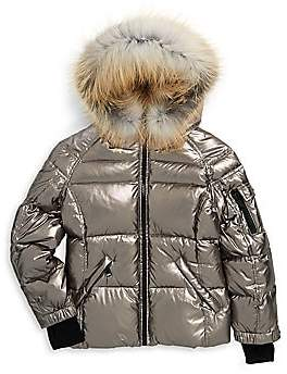1b28d3252b8 Girls Blake Fox Fur-Trim Down Puffer Jacket