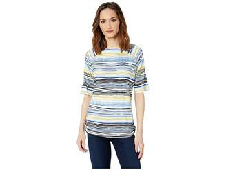 FDJ French Dressing Jeans Striated Stripe Ballet Neckline Semi Short Sleeve Top