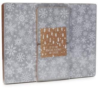 Debenhams 4 Pack Grey Snowflake Placemats And Coasters
