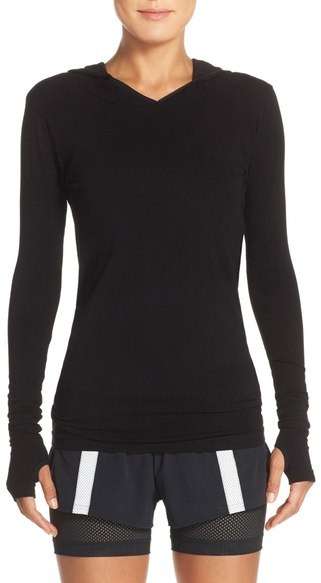 Free People Hooded Long Sleeve Top