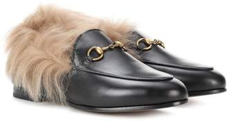 Gucci Jordaan fur-lined leather loafers