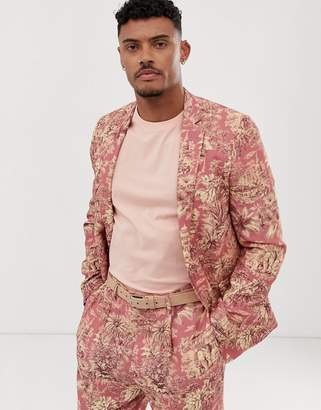 Asos Design DESIGN skinny suit jacket with elephant print in linen look