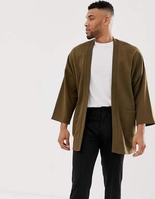 Asos Design DESIGN jersey kimono cardigan in brown