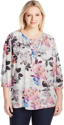 NYDJ Women's Plus Size 3/4 Sleeve Henley Pleatback Blouse