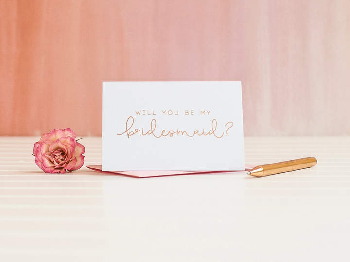 Etsy Will You Be My Bridesmaid card in Rose Gold Foil to ask bridesmaid proposal invitation gift box foil