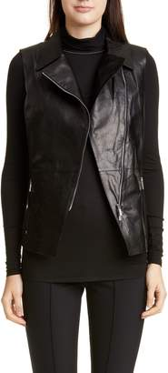 Lafayette 148 New York Nevaeh Leather Moto Vest