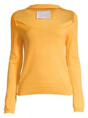 Long Sleeve Cutout Wool Top
