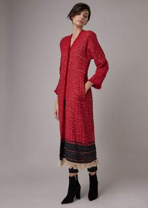 Giorgio Armani Coat In Cannete-Effect Jacquard Jersey With Fringes At The Hem