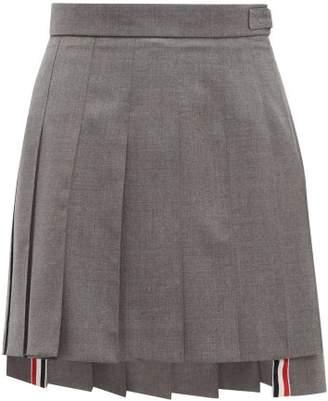 Thom Browne Pleated Wool Twill Mini Skirt - Womens - Grey Multi