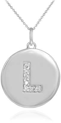"Initial Pendants 10k White Gold Letter ""L"" Diamond Disc Initial Pendant Necklace (18 Inches)"