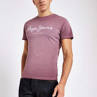 River Island Pepe Jeans burgundy logo T-shirt