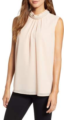 Karl Lagerfeld PARIS Faux Pearl Collar Sleeveless Blouse