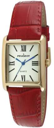 Peugeot Women's 14K Gold-Plated Tank Roman Numeral Leather Band Watch 3036RD