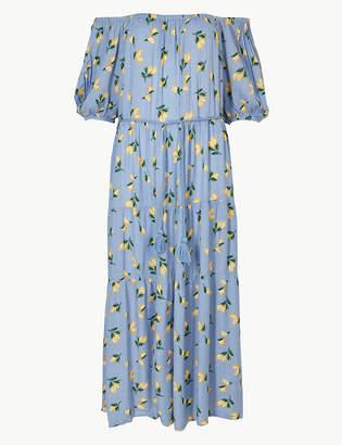 Marks and Spencer Lemon Print Waisted Midi Dress