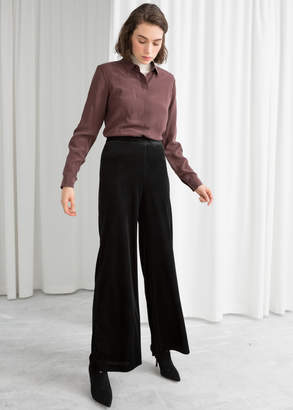 And other stories Flared Velour Trousers