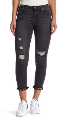 Velvet Heart Paola Pompom Trim Cropped Jeans