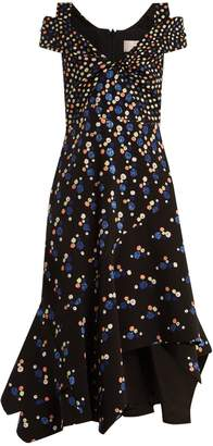Peter Pilotto Off-the-shoulder dot-print stretch-cady dress