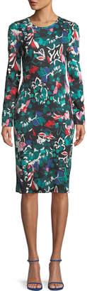 Prabal Gurung Crewneck Long-Sleeve Floral-Print Knee-Length Cocktail Dress