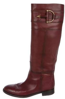 Gucci Leather Round-Toe Knee-High Boots
