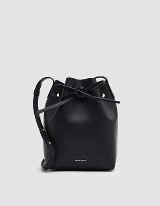 Mansur Gavriel Vegetable Tanned Mini Bucket Bag in Black/Raw