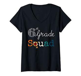 Womens 6th Grade Squad - Funny Vintage Team Sixth Grade Teacher V-Neck T-Shirt