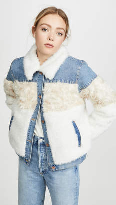 Rebecca Taylor Fur & Denim Jacket