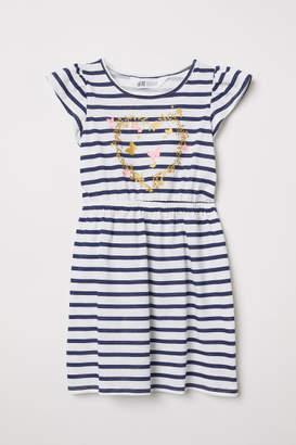 H&M Jersey Flounce-sleeved Dress - White