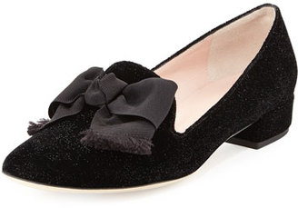 Kate Spade New York Gino Velvet Bow Loafer Pump, Black $298 thestylecure.com