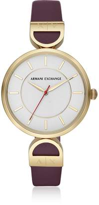 Armani Exchange Brooke Gold Tone Aubergine Women's Watch