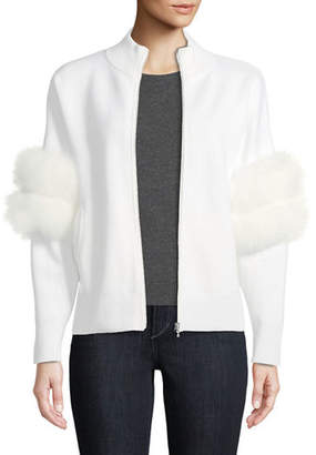 Kobi Halperin Annie Zip-Front Cardigan Sweater with Fox-Fur Sleeves