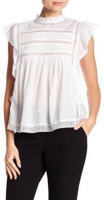Love Sam Ruffle Mock Neck Cap Sleeve Blouse